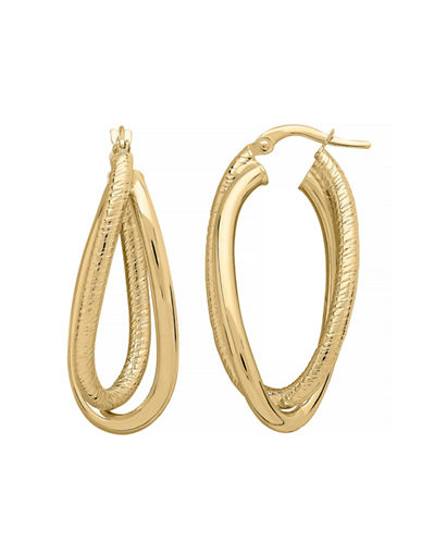 Fine Jewellery 14K Yellow Gold Crossover Tube Hoop Earrings-YELLOW GOLD-One Size