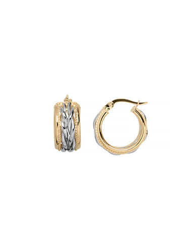 Fine Jewellery 14K Yellow Gold Double Braided Hoop Earrings-GOLD-One Size