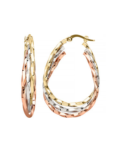 Fine Jewellery 14K Tri-Tone Gold Twist Hoop Earrings-GOLD-One Size