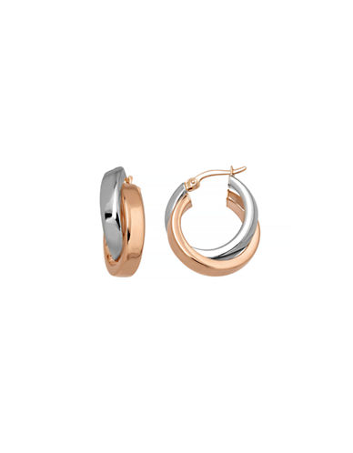 Fine Jewellery 14K Two-Tone Gold Crossover Hoop Earrings-GOLD-One Size