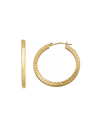 Fine Jewellery 14K Yellow Gold Engraved Hoop Earrings-YELLOW GOLD-One Size