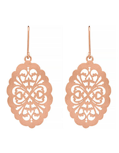 Fine Jewellery 14k Rose Gold Filigree Drop Earrings-PINK GOLD-One Size