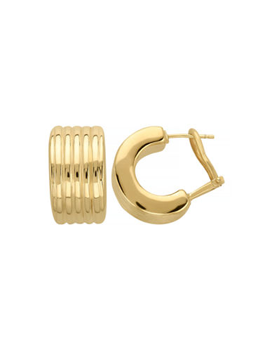 Fine Jewellery 14k Yellow Gold Ribbed Huggie Earrings-YELLOW GOLD-One Size