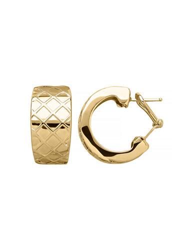 Fine Jewellery 14K Yellow Gold Lattice Huggie Earrings-YELLOW GOLD-One Size