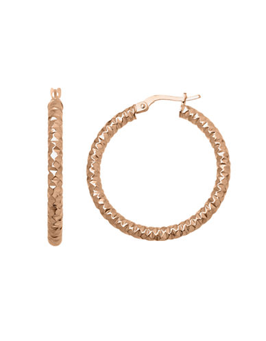 Fine Jewellery 14k Rose Gold Textured Hoop Earrings-PINK GOLD-One Size