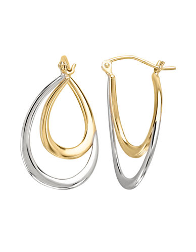 Fine Jewellery 14K Two-Tone Oval Hoop Earrings-GOLD-One Size