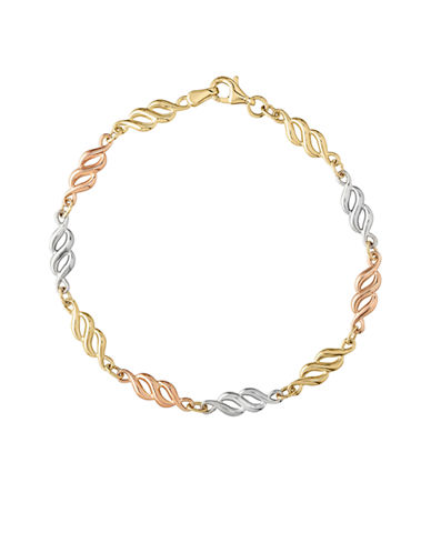 Fine Jewellery 14k Tri-Color Gold Infinity Bracelet-GOLD-One Size