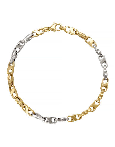 Fine Jewellery 14k Two-Tone Gold Oval Link Bracelet-GOLD-One Size
