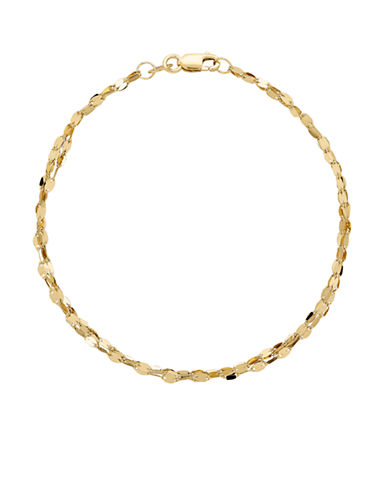 Fine Jewellery 14k Yellow Gold Mirror Link Bracelet-YELLOW GOLD-One Size