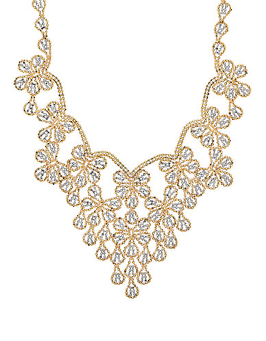 Fine Jewellery 14k Two-Tone Beaded Floral Necklace-GOLD-One Size