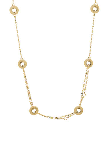 Fine Jewellery 14k Yellow Gold Circle Station Necklace-YELLOW GOLD-One Size