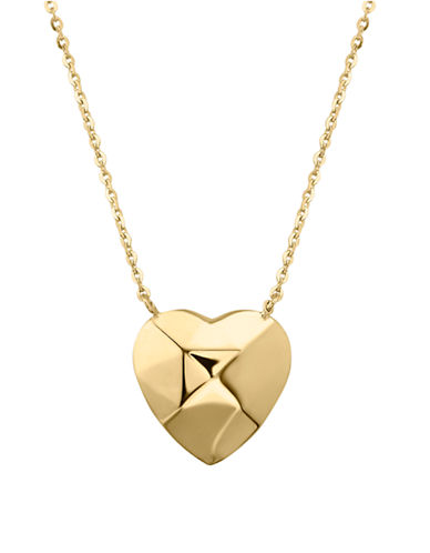 Fine Jewellery 14k Yellow Gold Puffed Heart Pendant Necklace-YELLOW GOLD-One Size