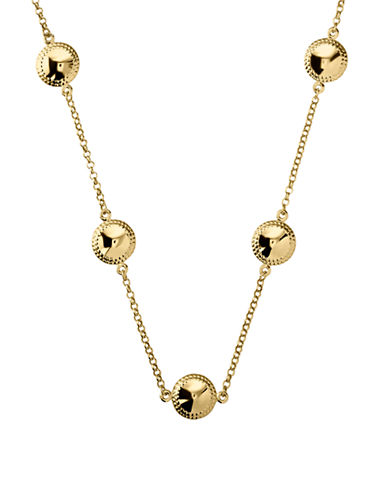 Fine Jewellery 14K Yellow Gold Puffed Station Disk Necklace-YELLOW GOLD-One Size