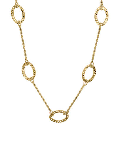Fine Jewellery 14K Yellow Gold Open Oval Station Necklace-GOLD-One Size
