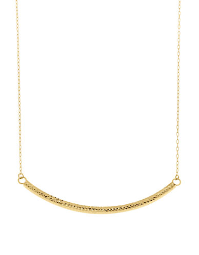 Fine Jewellery 14K Yellow Gold Curved Textured Bar Necklace-YELLOW GOLD-One Size
