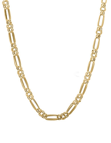 Fine Jewellery 14k Yellow Gold Double Link Circle and Oval Necklace-YELLOW GOLD-One Size