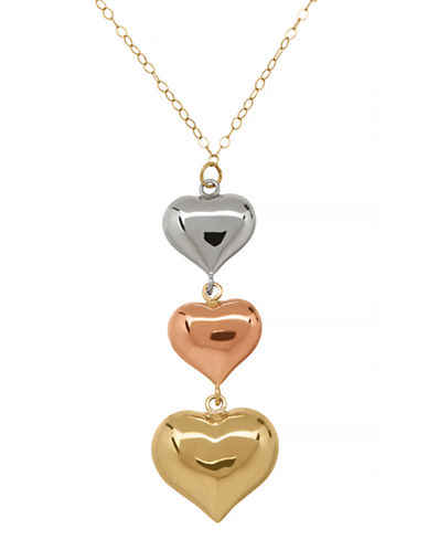 Fine Jewellery Polished Tri-Color Triple Heart Pendant-GOLD-One Size