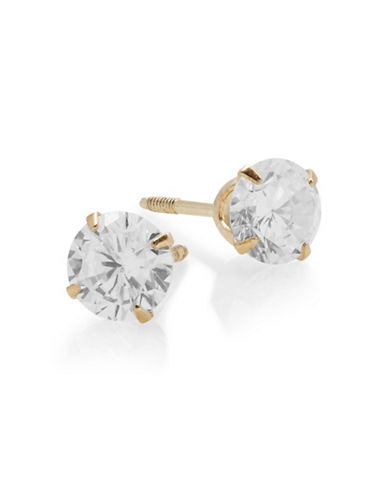 Fine Jewellery 14K Yellow Gold Cubic Zirconia Barbell Earrings-CUBIC ZIRCONIA-One Size