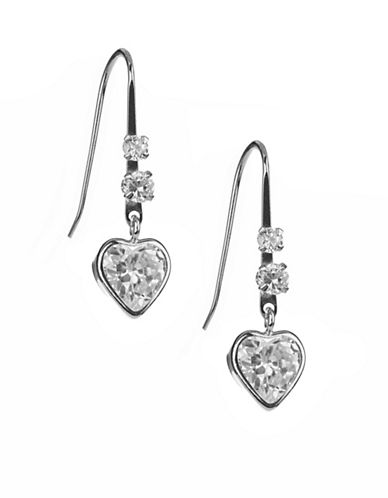 Fine Jewellery 14K White Gold Heart Drop Earrings-CUBIC ZIRCONIA-One Size
