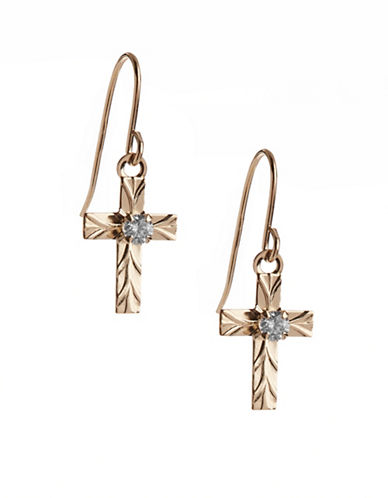 Fine Jewellery 14K Yellow Gold Cross Drop Earrings-CUBIC ZIRCONIA-One Size