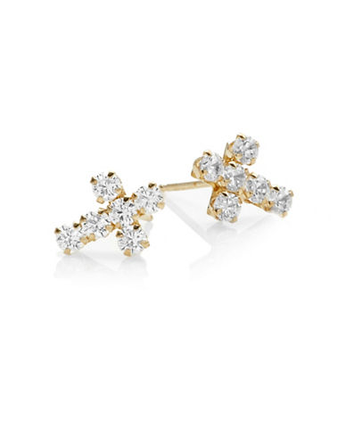 Fine Jewellery 14K Yellow Gold Cross Stud Earrings-CUBIC ZIRCONIA-One Size