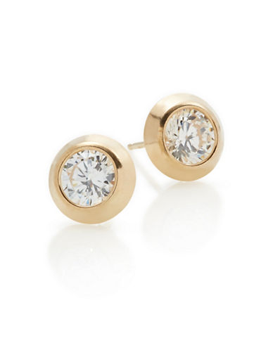 Fine Jewellery 14K Yellow Gold Button Earrings-CUBIC ZIRCONIA-One Size