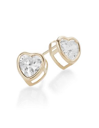 Fine Jewellery 14K Yellow Gold Heart Stud Earrings-CUBIC ZIRCONIA-One Size