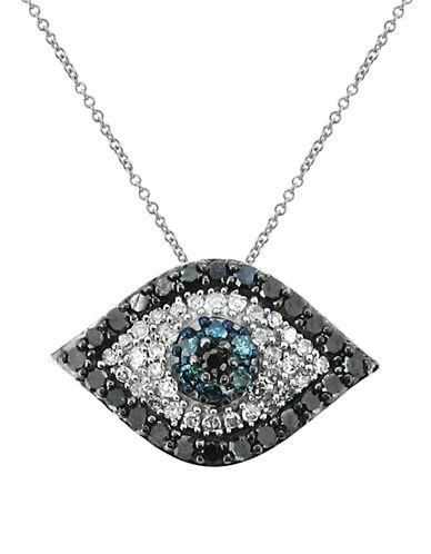 Fine Jewellery 14K White Gold and Diamond Evil Eye Necklace-DIAMOND-One Size