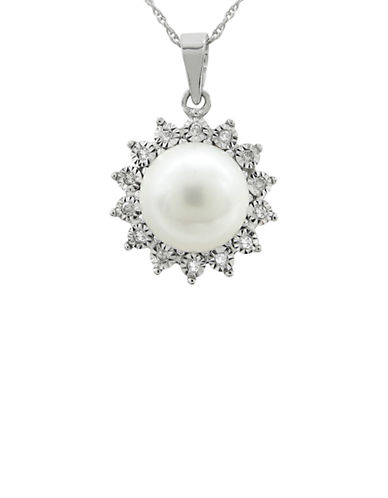 Fine Jewellery Sunshine White Pearl Diamond and 14K White Gold Pendant Necklace-PEARL-One Size