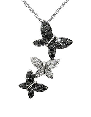 Fine Jewellery 14K White Gold and Diamond Butterfly Necklace-DIAMOND-One Size
