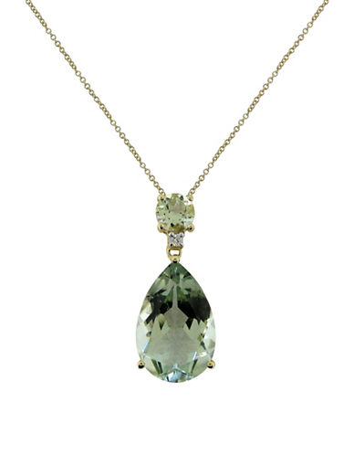 Fine Jewellery 14K Yellow Gold Diamond and Amethyst Pendant Necklace-GREEN-One Size
