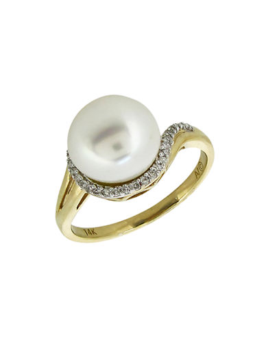 Fine Jewellery 14K Yellow Gold Diamond and Freshwater Pearl Ring-PEARL-7