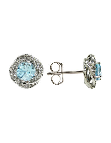 Fine Jewellery 14K White Gold Diamond and Topaz Stud Earrings-BLUE-One Size