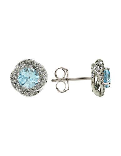 Fine Jewellery 14K White Gold Diamond and Topaz Stud Earrings-BLUE-One Size