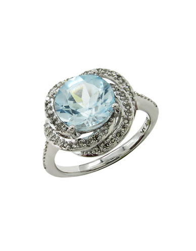 Fine Jewellery 14K White Gold Diamond and Topaz Ring-BLUE-7