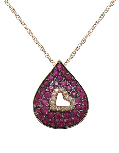 Fine Jewellery 14K Rose Gold Diamond and Ruby Teardrop Necklace-RUBY-One Size