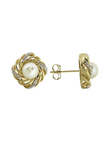 Fine Jewellery White Pearl Diamond and 14K Yellow Gold Earrings-PEARL-One Size
