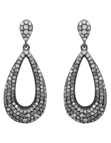 Fine Jewellery 14K White Gold and Diamond Open Drop Earrings-DIAMOND-One Size