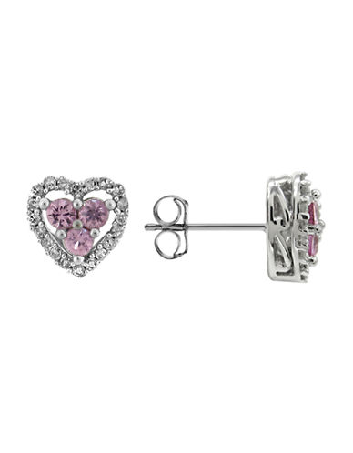 Fine Jewellery 14K White Gold Diamond and Sapphire Heart Earrings-PINK SAPPHIRE-One Size