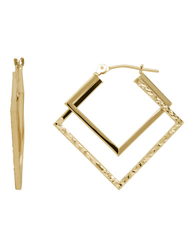 Fine Jewellery 14K Gold Double-Square Hoops-YELLOW GOLD-One Size