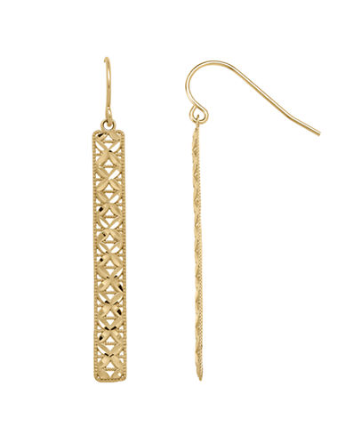 Fine Jewellery 14K Gold Openwork Bar Earrings-YELLOW GOLD-One Size