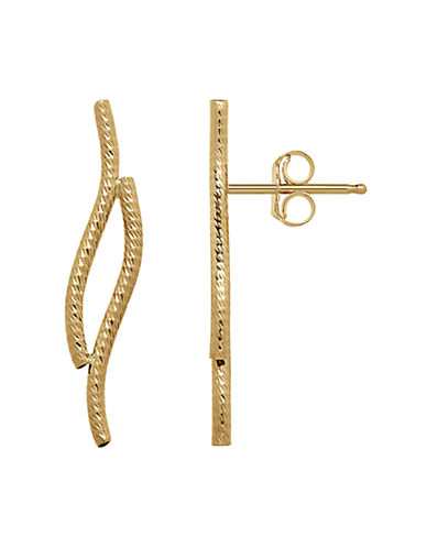 Fine Jewellery 14K Gold Curved Bars Earrings-YELLOW GOLD-One Size