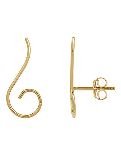 Fine Jewellery 14K Gold Swirl Earrings-YELLOW GOLD-One Size