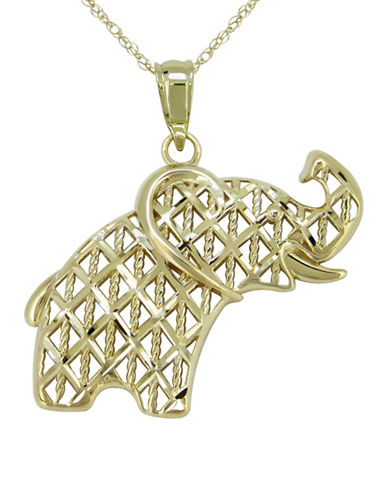 Fine Jewellery 14K Yellow Gold Elephant Pendant Necklace-YELLOW GOLD-One Size
