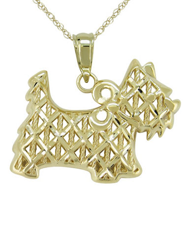 Fine Jewellery 14K Yellow Gold Dog Pendant Necklace-YELLOW GOLD-One Size