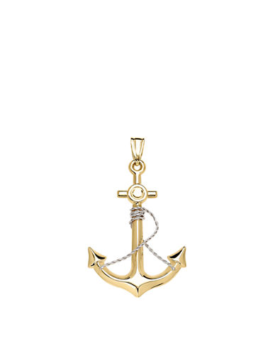 Fine Jewellery 14K Two-Tone Gold Anchor Pendant-TWO TONE GOLD-One Size
