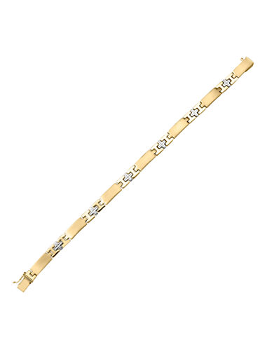 Fine Jewellery 14K Gold Rhodium-Cross Bracelet-YELLOW GOLD-One Size