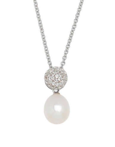 Honora Style Topaz Ball Pearl Drop Necklace-WHITE-One Size