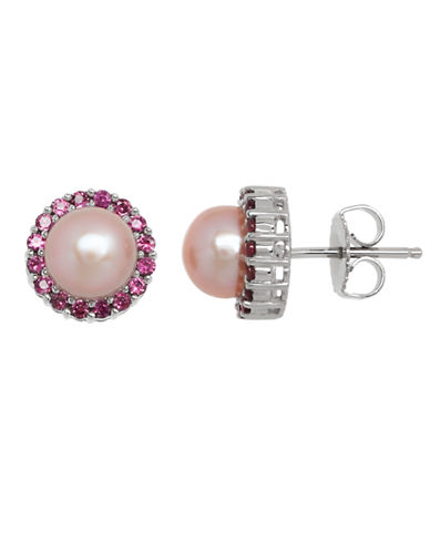 Honora Style Pink Pearl and Rhodolite Halo Earrings-PINK-One Size