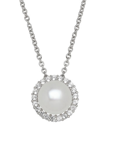 Honora Style Pearl and Topaz Halo Necklace-WHITE-One Size
